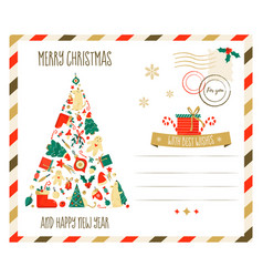 merry christmas greeting postcard with vector image