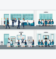 Modern office interior room with office desk vector