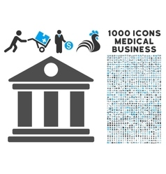 Museum icon with 1000 medical business symbols vector