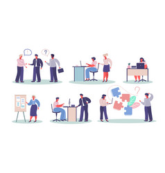 office workers in different situations vector image