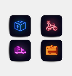 package bicycle parking and truck parking icons vector image