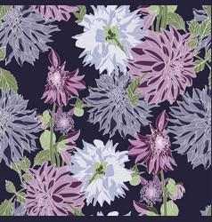 pattern vintage blue violet dahlia flowers vector image