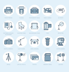 photography equipment flat line icons digital vector image