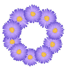 purple aster daisy flower wreath vector image