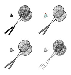 Rackets and a shuttlecock for badmintonsummer vector