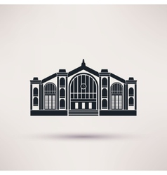 Railway station building Icon in the flat style vector image