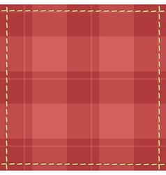 Red checkered background with stitches vector