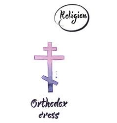 Religious sign-orthodox cross vector