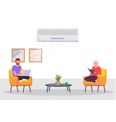 room with air conditioning and people man and a vector image
