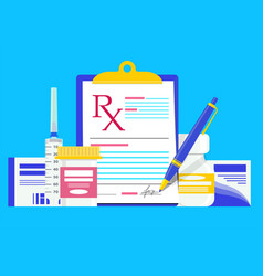 rx medical prescription with bottles therapy pills vector image
