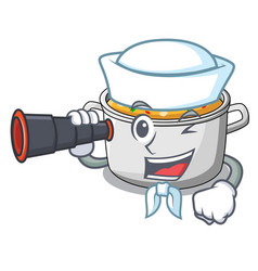 Sailor with binocular cooking pot of soup isolated vector