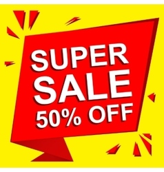 Sale poster with SUPER SALE 50 PERCENT OFF text vector