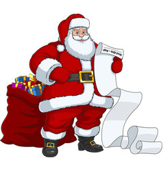 santa claus with a bag gifts vector image