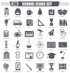 School black icon set Dark grey classic vector image