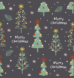 seamless pattern with decorated christmas trees vector image