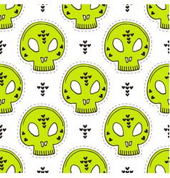 seamless pattern with skulls halloween vector image
