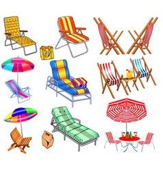 Set of chairs sun beds and umbrellas vector