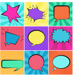 set of color retro speech bubbles with backgrounds vector image