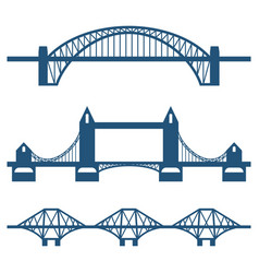 set of flat bridge icons isolated on white vector image