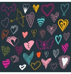 Set of hand drawn hearts Valentine hearts for vector image