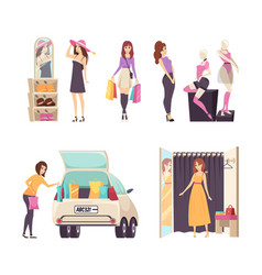 Shopping woman with paper bags walking set vector