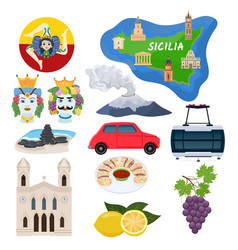 Sicily sicilian island map with cathedral vector