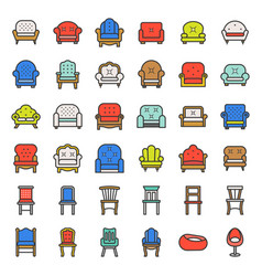 sofa and chair filled outline icon set vector image