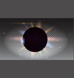 Solar eclipse astronomical phenomenon light rays vector