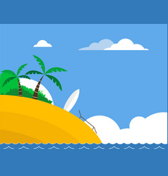 Sunny tropical beach with surfboard vector