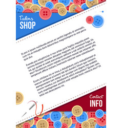 tailors shop poster template with buttons vector image