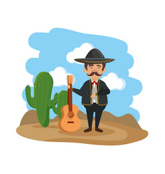 Traditional mexican mariachi with guitar vector