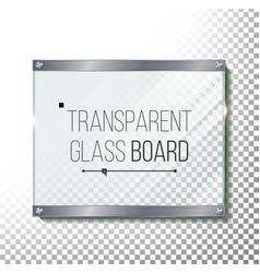 transparent glass plate mock up plastic vector image