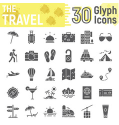 travel glyph icon set tourism symbols collection vector image