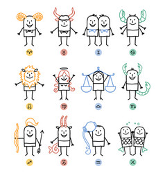 Twelve zodiac cartoon characters signs vector