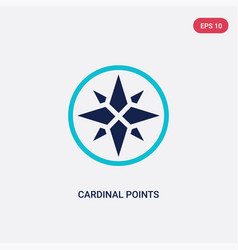 Two color cardinal points on winds star icon from vector