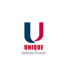 Unique design studio u letter icon vector