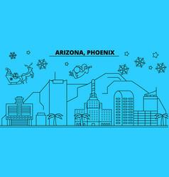 United states phoenix winter holidays skyline vector