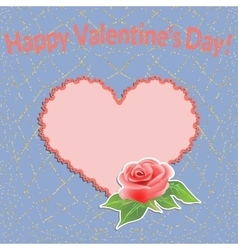 Valentines Day background with filigree heart and vector image