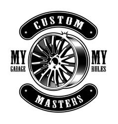 Vintage emblem of car disk vector