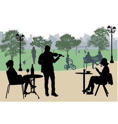 violinist perform on a street cafe near city park vector image