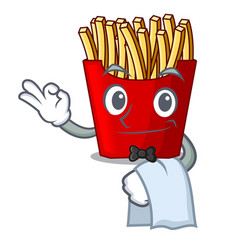 Waiter french fries wrapped in cartoon shapes vector