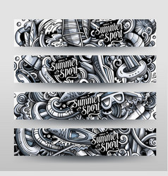 water sports hand drawn doodle banners vector image