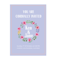 Wedding invitation floral ring purple colour backg vector