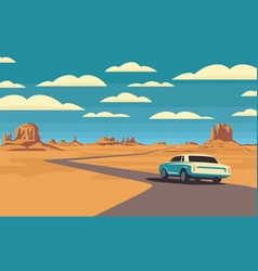 Western landscape with a highway and passing car vector