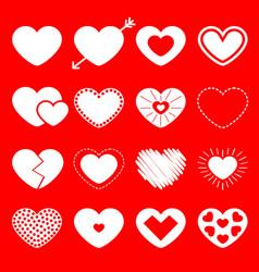 white heart big icon set happy valentines day vector image