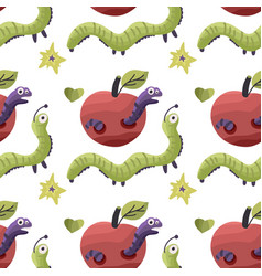 worms eating apples vector image