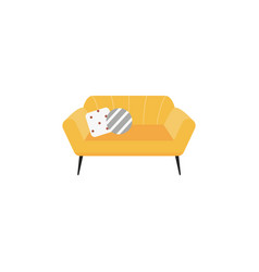 yellow fabric sofa or couch single icon vector image