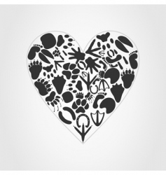 animal heart vector image vector image