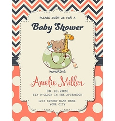 Beautiful baby girl shower card with toys vector image vector image
