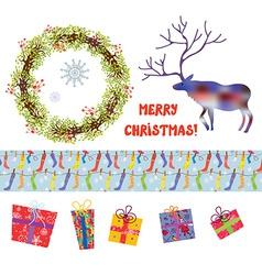 Christmas design elements set - funny cartoons vector image
